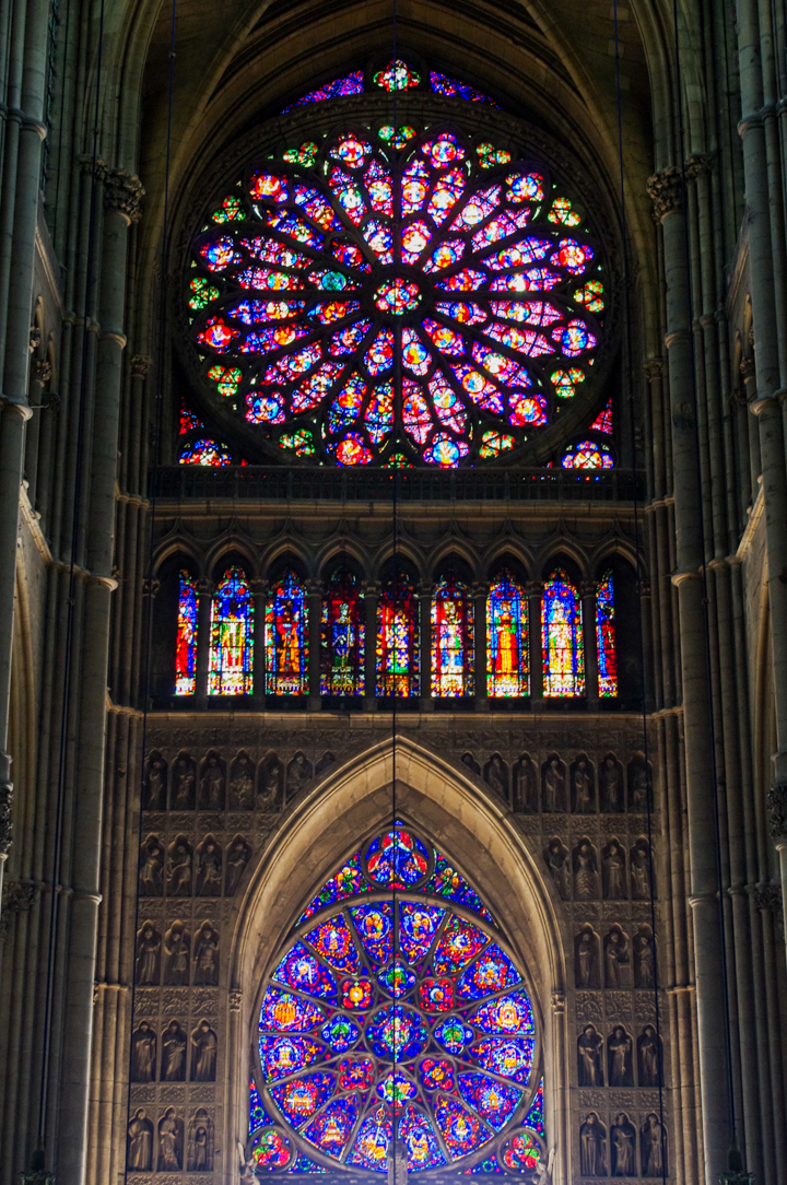 The incredible inside view of the entrance portal of the Reims cathedral in France