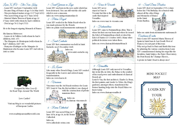 A Royal Road Trip Itinerary and description to follow Louis XIV footsteps - available for download on roadtripsaroundtheworld.com