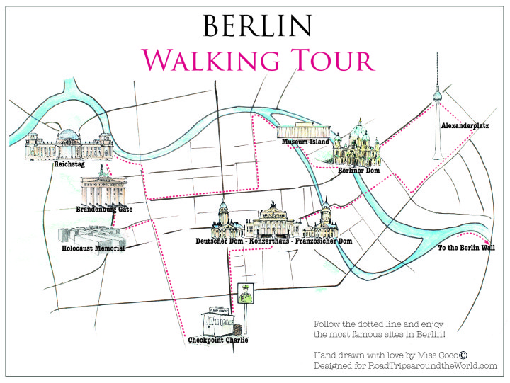 Berlin Map - Berlin Walking Tour to the most famous sites - designed for roadtripsaroundtheworld.com