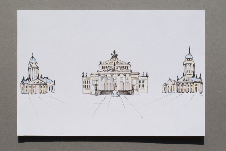 Drawing of the Deutscher Dom, the Konzerthaus and the Franzosicher Dom in Berlin, Germany - postcard available on roadtripsaroundtheworld.com