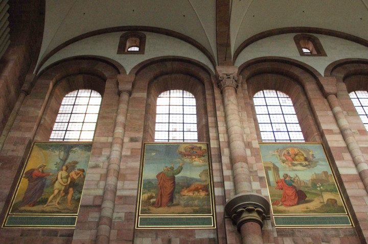 Some of the paintings in the Speyer Cathedral in Germany - Visit roadtripsaroundtheworld.com to learn more