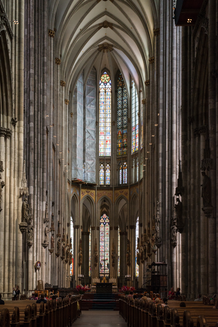 The 43m high Nave of the Cologne Cathedral in Germany