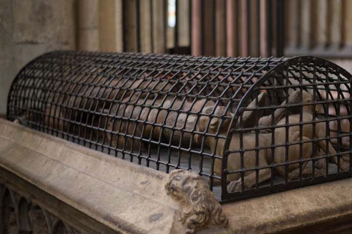 The Gisant of the Count Gottfried of Arnsberg with its arched iron grid, in the Cologne Cathedral - Germany