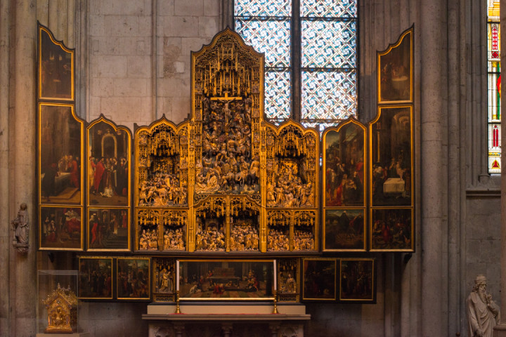 The Saint Agilulfus altar piece from circa 1510 in the South transept of the COlogne Cathedral - Germany