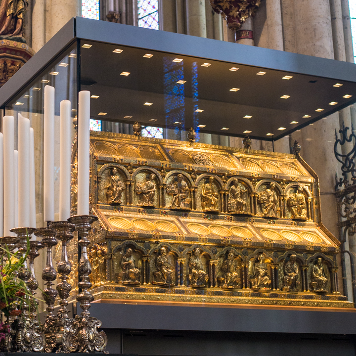 The Shrine of the Three Kings, a 13 century large gilded sarcophagus in the Cologne Cathedral - Cologne - Germany