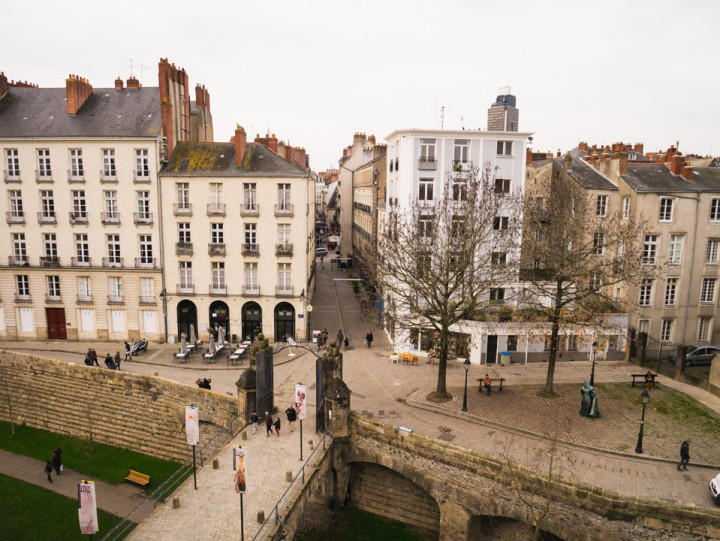 View of the old town from the Dukes of Brittany's Castle in Nantes, France