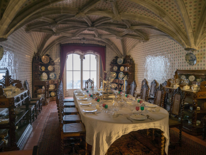 The Royal private Dining room of King Ferdinand II in the Pena Palace - Sintra, Portugal - Learn more on roadtripsaroundtheworld.com