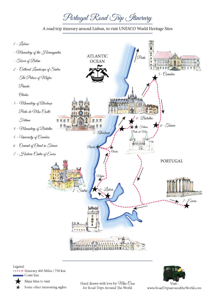 Portugal - Road Trip Map Itinerary - download it from www.RoadTripsaroundtheWorld.com