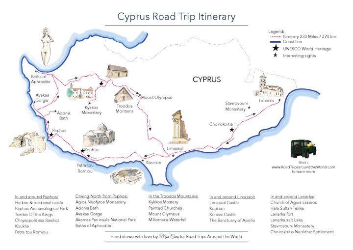 Cyprus Road Trip Map Itinerary - download it from www.RoadTripsaroundtheWorld.com