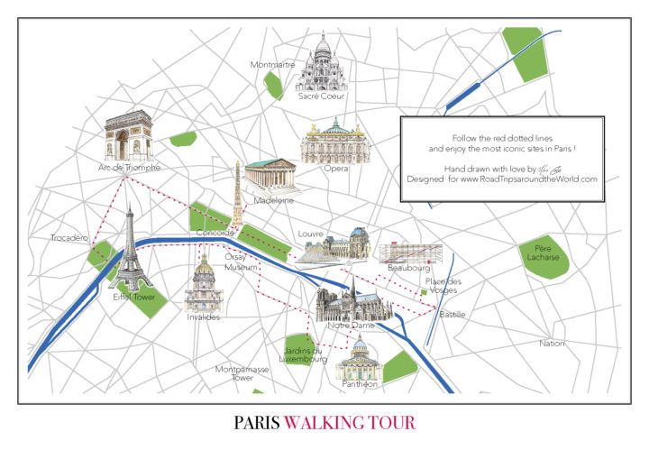 Paris Walking Tour Map - Free Map to download - Only on Road Trips around the World - www.RoadTripsaroundtheWorld.com