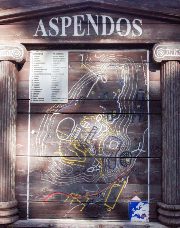 Aspendos map, Turkey - www.RoadTripsaroundtheWorld.com