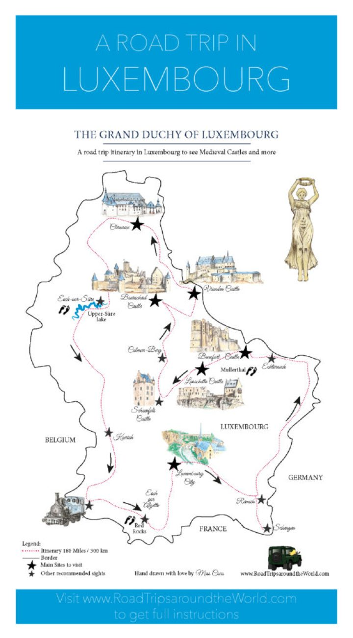 Visit the Grand Duchy of Luxembourg: a Road Trip in Luxembourg - Free map designed by Miss Coco for www.RoadTripsaroundtheWorld.com