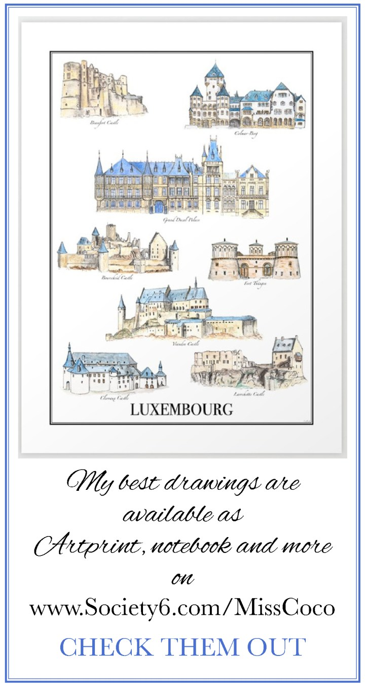 Discover Luxembourg - Luxembourg city - Art print by Miss Coco for www.RoadTripsaroundtheWorld.com