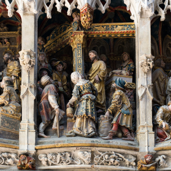 Jesus and the Moneylenders - Low relief of the Choir Screen - North Ambulatory - Amiens Cathedral, France - www.RoadTripsaroundtheWorld.com
