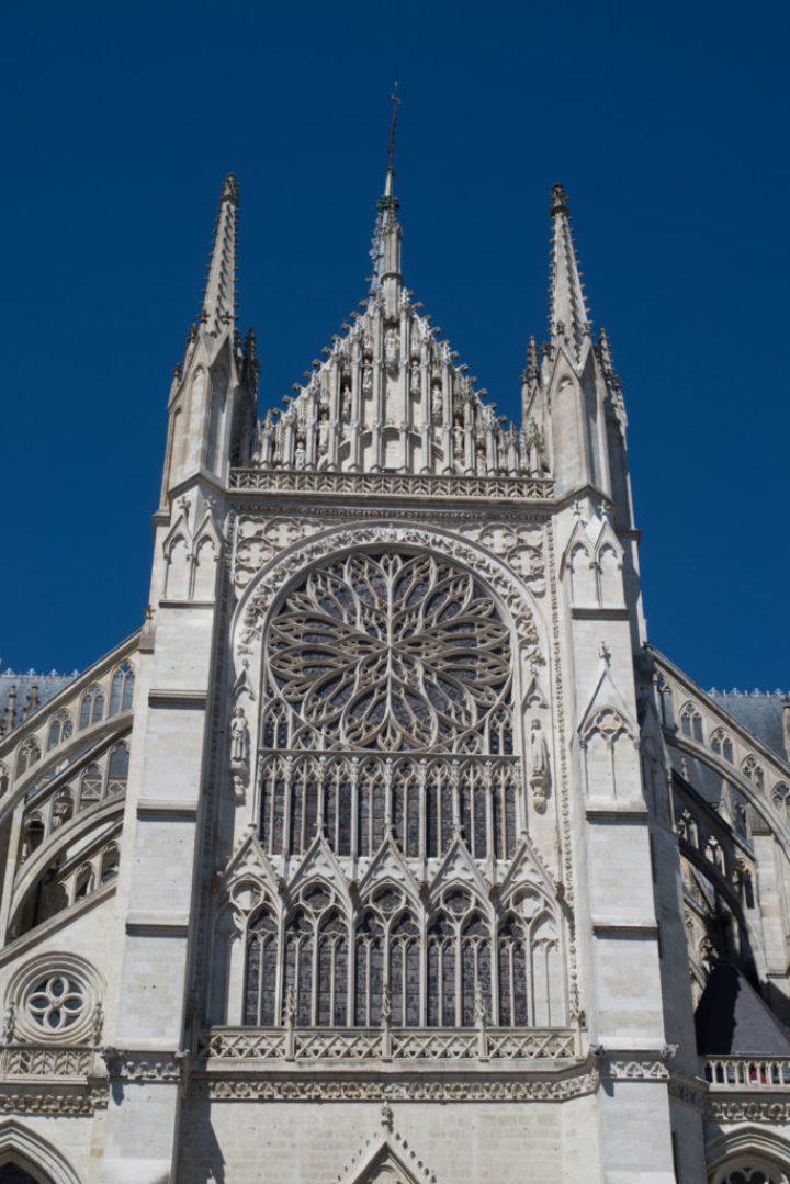 South transept flamboyant rose window - Amiens Cathedral, France - www.RoadTripsaroundtheWorld.com