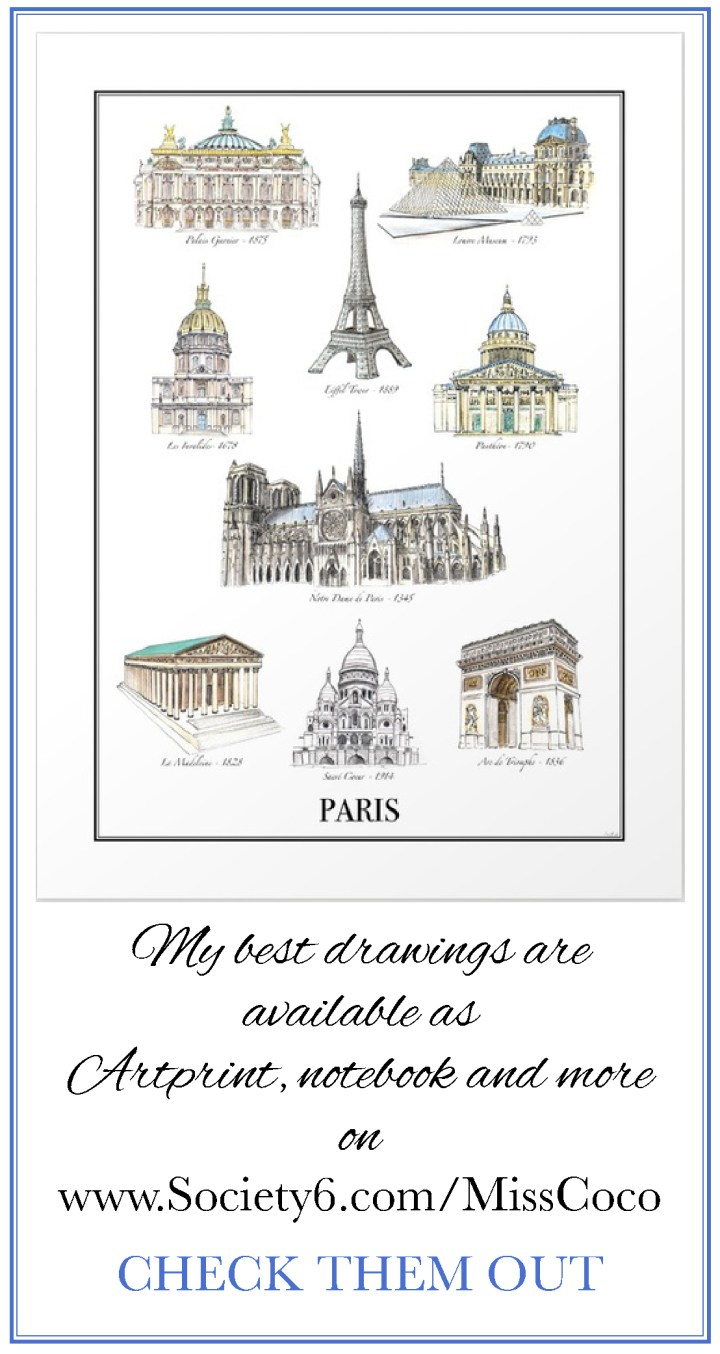 Society6.Com/MissCoco - Travel drawings - Paris Travel - Paris Landmarks