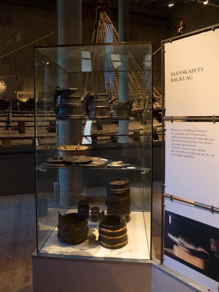Display of butter casks and plates - Vasa Museum - Stockholm, Sweden - www.RoadTripsaroundtheWorld.com