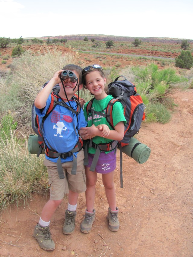 Backpacking Capitol Reef: Garrett and Maya on the Chimney Rock Trail in Capitol Reef National Park