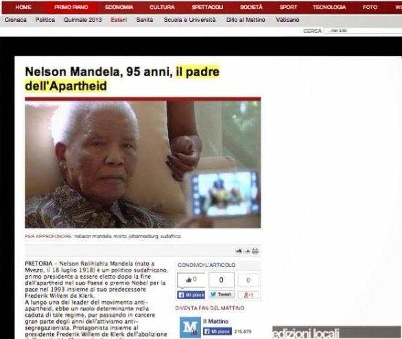 Errore su Mandela de Il Mattino_RoadTv
