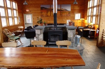 Cozy and neat interior of Stratton Brook hut