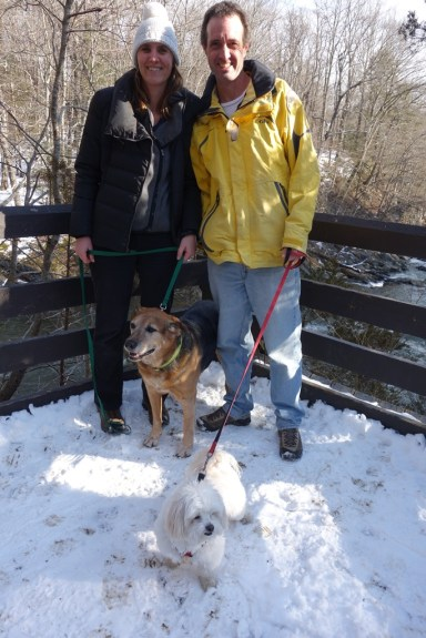 Walking our borrowed pets near Bull's Bridge