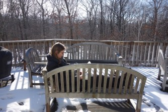 After aborting our walk, it was too nice and warm (!) out to sit inside!