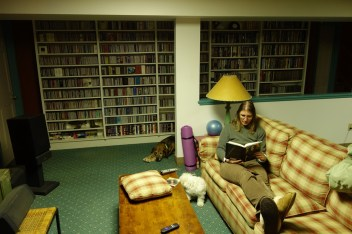 "Reading Steve's book in the basement, or ""Steve's man cave"""