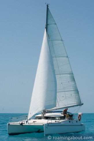 Irie under full sail on the Bahama Banks