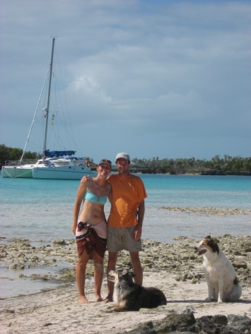Our little family and Irie in the Bahamas