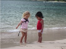 Toddler Leili is making a new local friend in Nuku Hiva