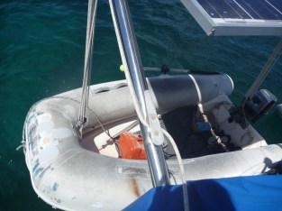 Lowering the dinghy for a trip to shore