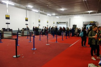Temporary check-in counters in terrorist-attacked Zaventem airport (Brussels)