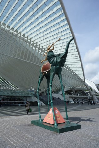 Dali statue in front of the train station, to advertise the exhibition
