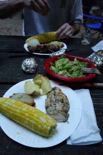Wood fire dinner on the second night