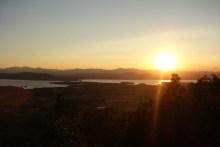 Setting sun above the lake