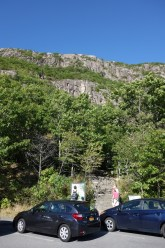 The Precipice Trail climbs along and up the steep cliffs all the way to the top