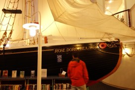 The library boasts a 1:2 model of the schooner Rose Dorothea!