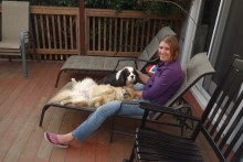 Sitting outside with the dogs on a non-rainy afternoon