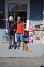 Mark and Lola with our friend Alfred. Each time we drive through the town of Bodega, we wave at him.