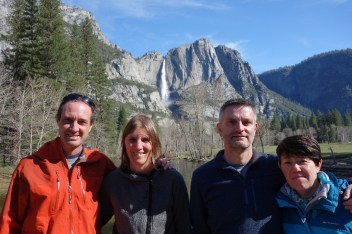 The family with Upper Yosemite Falls in the background