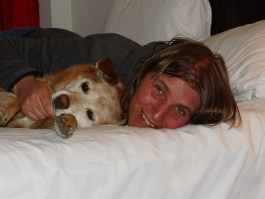 Snuggles with Lola in the hotel room