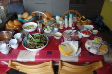 Amazing spread for lunch at my cousin Katrien and her husband Reiner's house