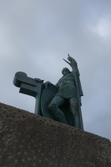 Statue on the top of Arnarholl park, of Viking Ingolfur Arnarson, whose family settled Iceland in 874