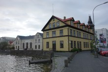 Buildings along Lake Tjornin