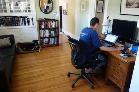 Mark's temporary office