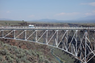 Our camper, Zesty, crossing Rio Grande gorge