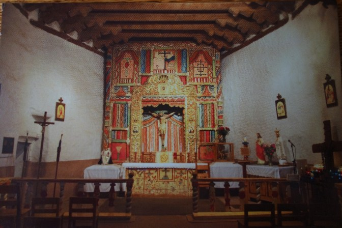Photo of postcard: the altar of the beautiful adobe church