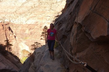 Steep drop-offs - good practice for the next day (Angels Landing)