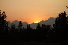 First sunset (over the smoky Tetons) from our first campsite