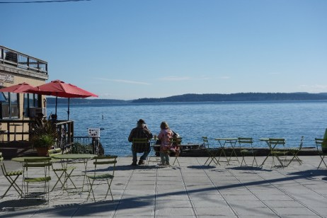 ... and along the waterfront. Whidbey Island lies across the channel.